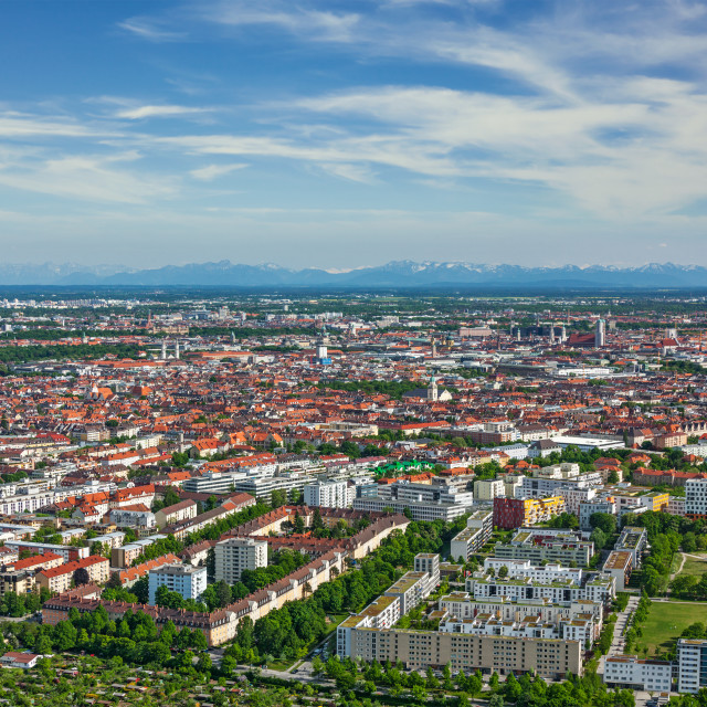 """""""Aerial view of Munich from Olympiaturm (Olympic Tower). Munich, Bavaria, Germany"""" stock image"""