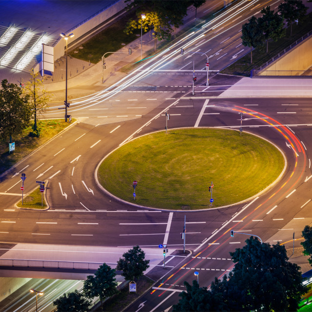 """""""Elevated view of German road junction. Munich, Bavaria, Germany,"""" stock image"""