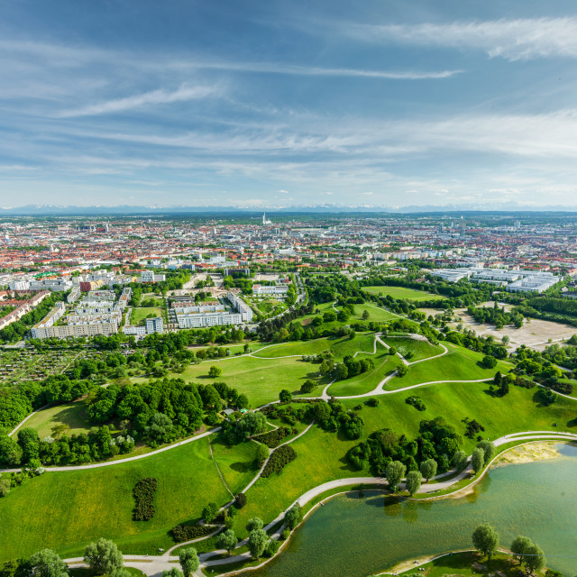 """""""Aerial view of Olympiapark and Munich from Olympiaturm (Olympic Tower). Munich, Bavaria, Germany"""" stock image"""