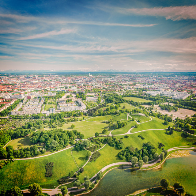 """""""Vintage retro hipster style travel image of aerial view of Olympiapark and Munich from Olympiaturm (Olympic Tower). Munich, Bavaria, Germany"""" stock image"""