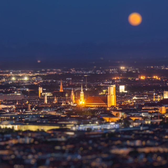 """""""Night aerial view of Munich, Germany"""" stock image"""