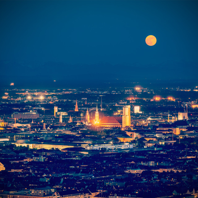 """""""Vintage retro hipster style travel image of night aerial view of Munich from Olympiaturm (Olympic Tower). Munich, Bavaria, Germany"""" stock image"""