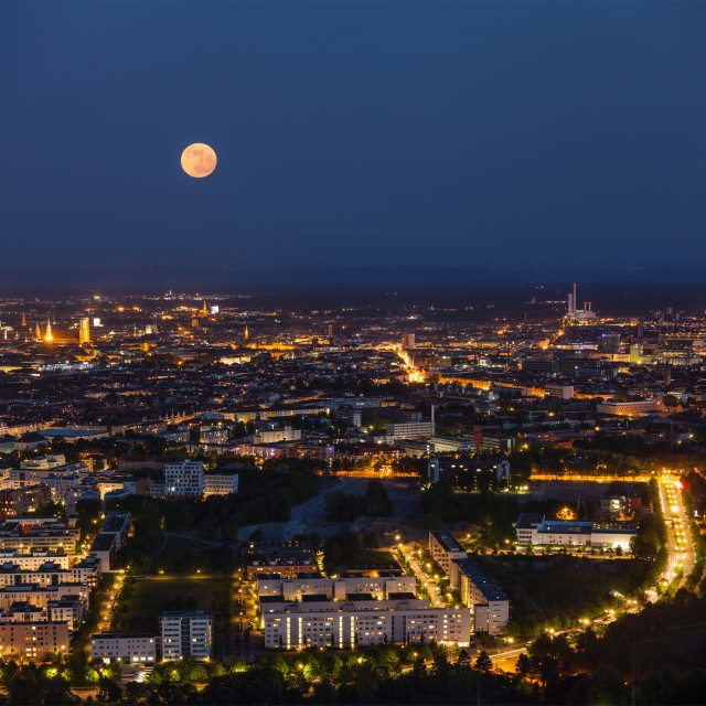 """""""Night aerial view of Munich from Olympiaturm (Olympic Tower). Munich, Bavaria, Germany"""" stock image"""