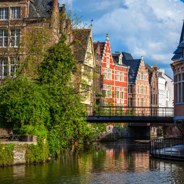 """""""Travel Belgium medieval european city town background with canal. Ghent, Belgium"""" stock image"""