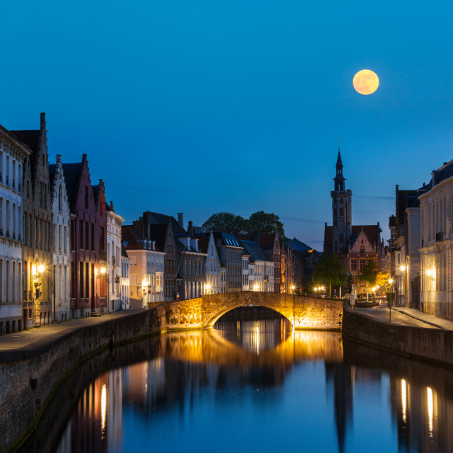 """""""European medieval night city view background - Bruges (Brugge) canal in the evening, Belgium"""" stock image"""