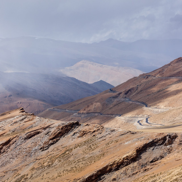 """Road in Himalayas with mountains"" stock image"