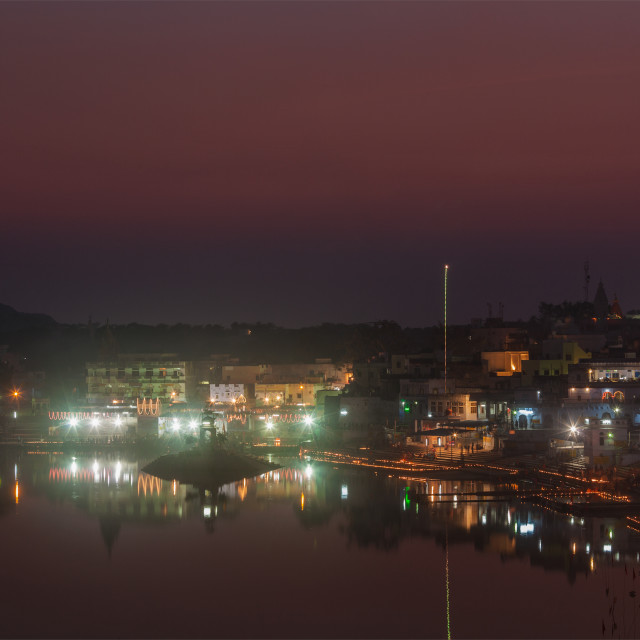 """""""Sacred Puskhar lake (Sagar) and ghats of town Pushkar in twilight in the evening, Rajasthan, India"""" stock image"""