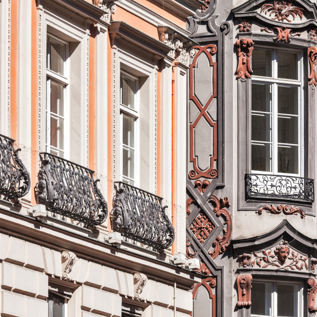 """""""Medieval rich house palace windows close up"""" stock image"""