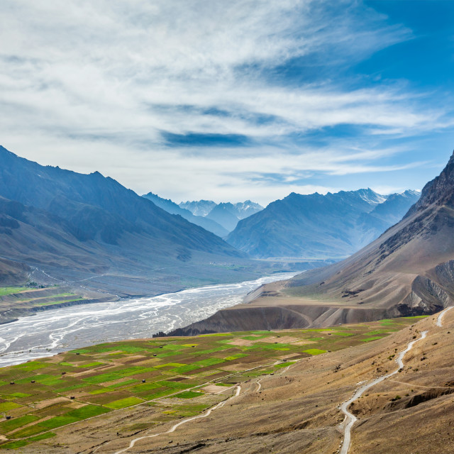"""Spiti valley and river in Himalayas"" stock image"
