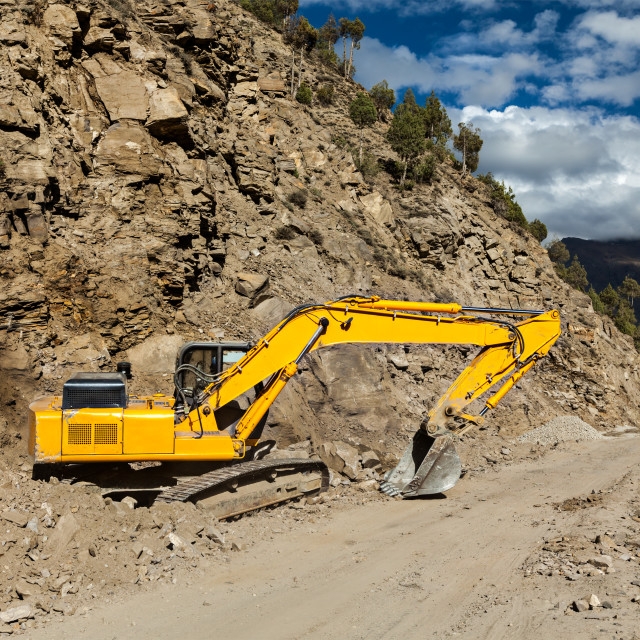 """Road reconstruction in mountains Himalayas"" stock image"