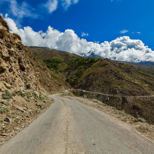 """Road in Himalayas. Lahaul valley, Himachal Pradesh, India"" stock image"