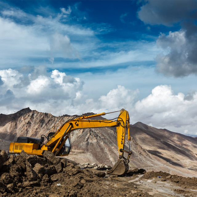 """Road construction in mountains Himalayas"" stock image"
