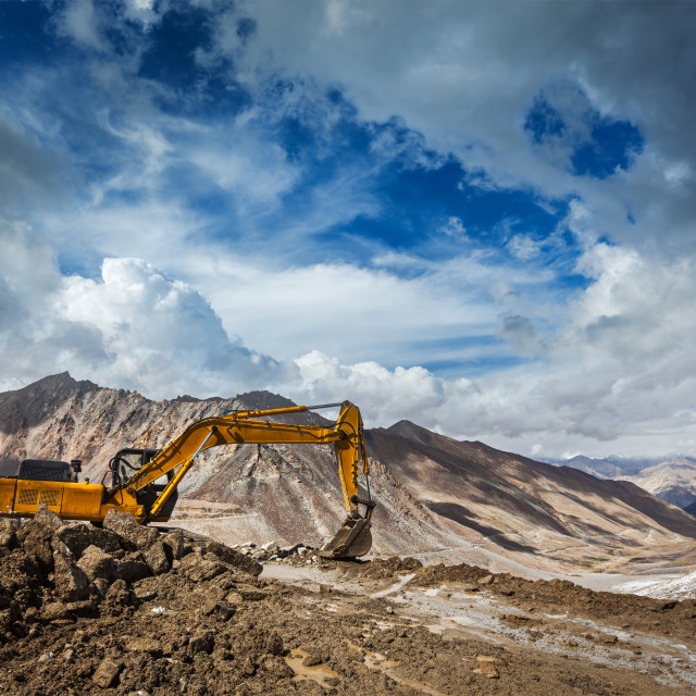 """Road construction in mountains Himalayas. Ladakh, India"" stock image"