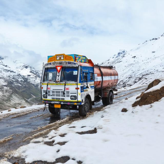 """Manali-Leh road in Indian Himalayas with lorry. Himachal Pradesh, India"" stock image"