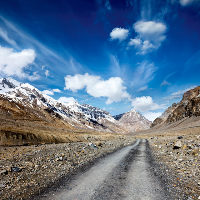 """Road in mountains (Himalayas). Spiti Valley, Himachal Pradesh, India"" stock image"