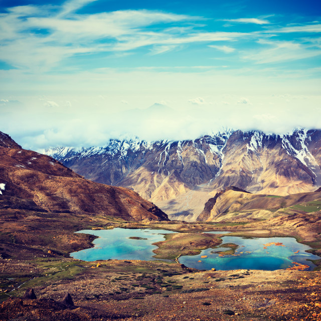 """Mountain lakes in Himalayas"" stock image"
