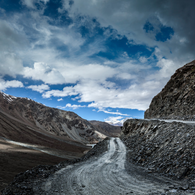 """Dirt road in severe unpopulated Himalayas. Spiti valley, Himachal Pradesh, India"" stock image"