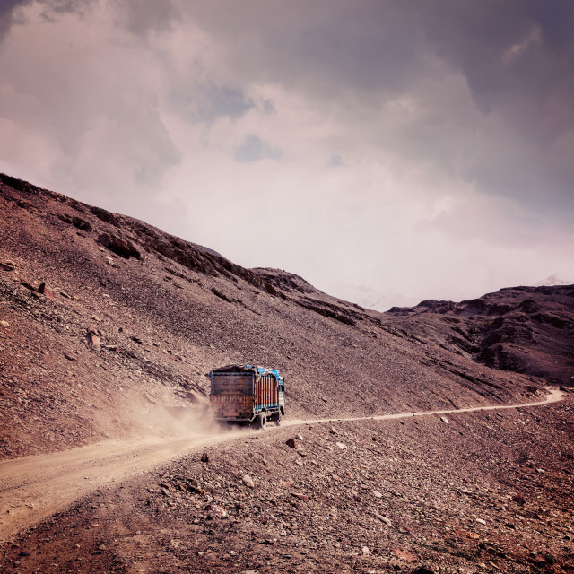"""Manali-Leh Road in Indian Himalayas with lorry"" stock image"