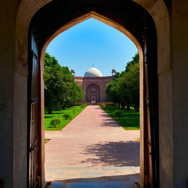 """Humayun's Tomb entrance - view through gates. Delhi, India"" stock image"
