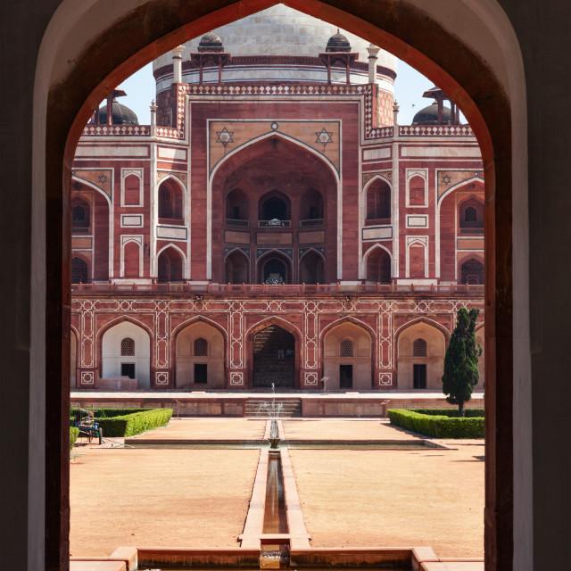 """Humayun's Tomb. View through arch. Delhi, India"" stock image"