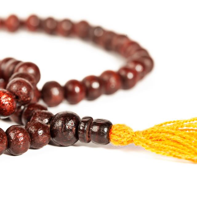 """""""Japa Mala - Buddhist or Hindu prayer beads isolated on white"""" stock image"""