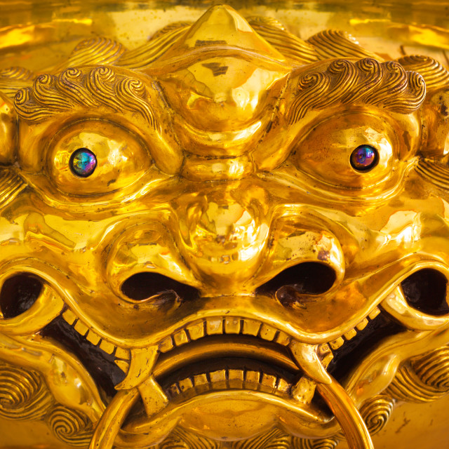 """Chinese dragon golden statue close up"" stock image"