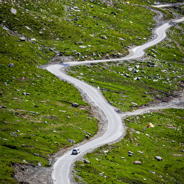"""Serpentine road in Himalayas mountains. Himachal Pradesh, India"" stock image"