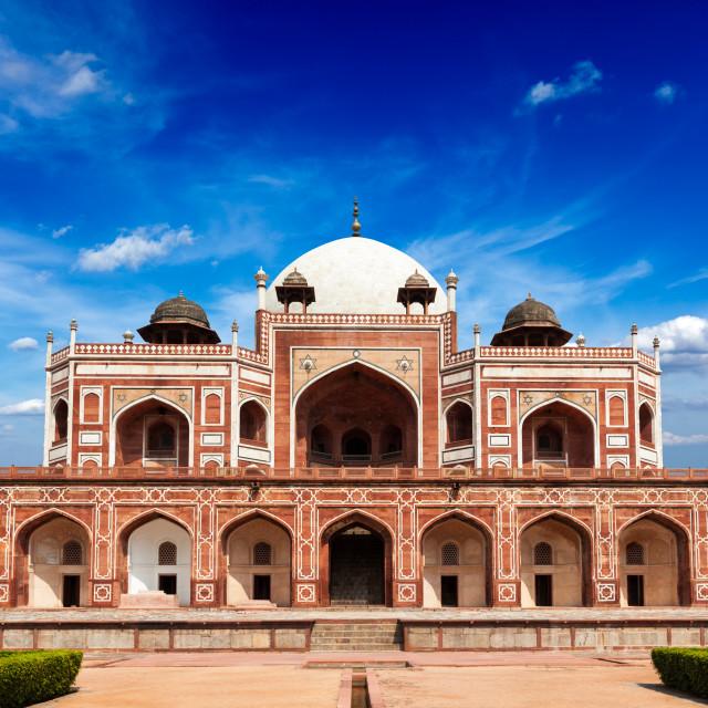 """Humayun Tomb marble mausoleum, Delhi, India"" stock image"