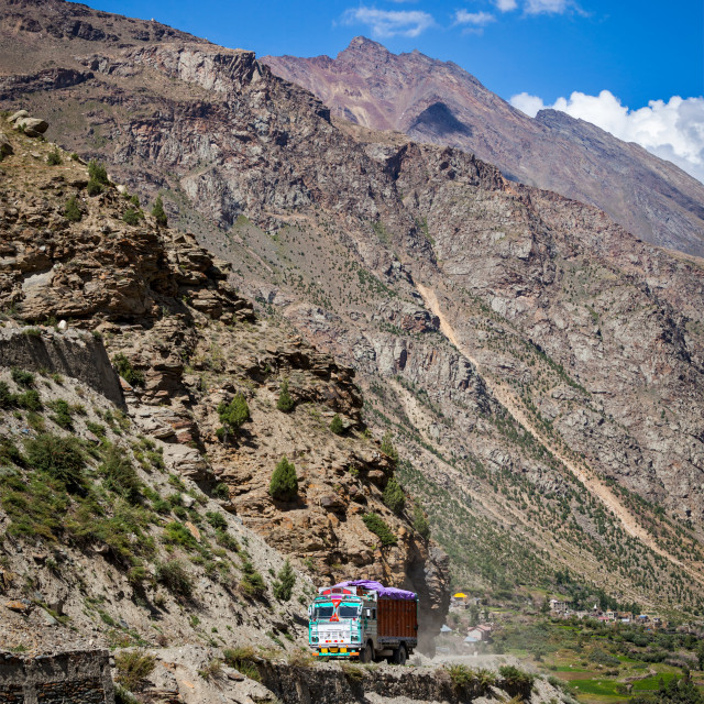 """Manali-Leh road in Indian Himalayas with lorry. Himachal Pradesh"" stock image"