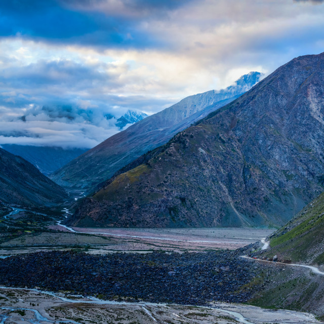 """Manali-Leh road in Lahaul valley in the morning. Himachal Prades"" stock image"