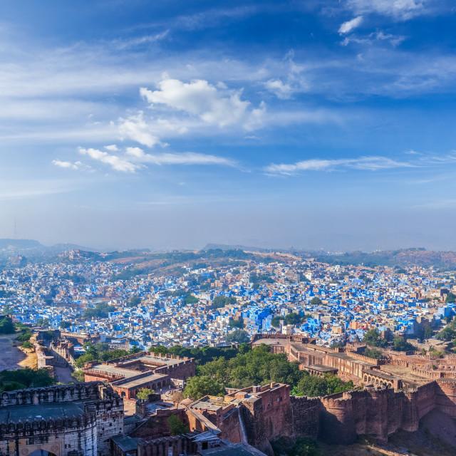 """""""Aerial panorama of Jodhpur - the blue city, India"""" stock image"""