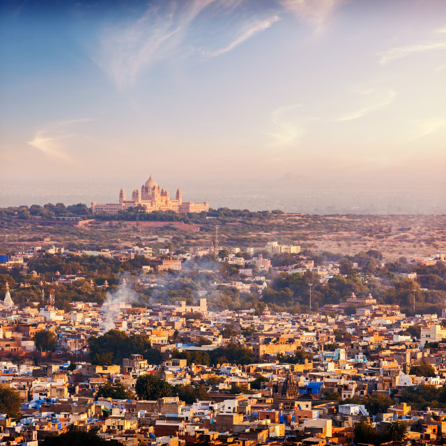 """""""Vintage retro hiptster style photo of aerial view of Jodhpur - the Blue city - with Umaid Bhawan Palace on sunset. View from Mehrangarh Fort. Jodphur, Rajasthan, India"""" stock image"""