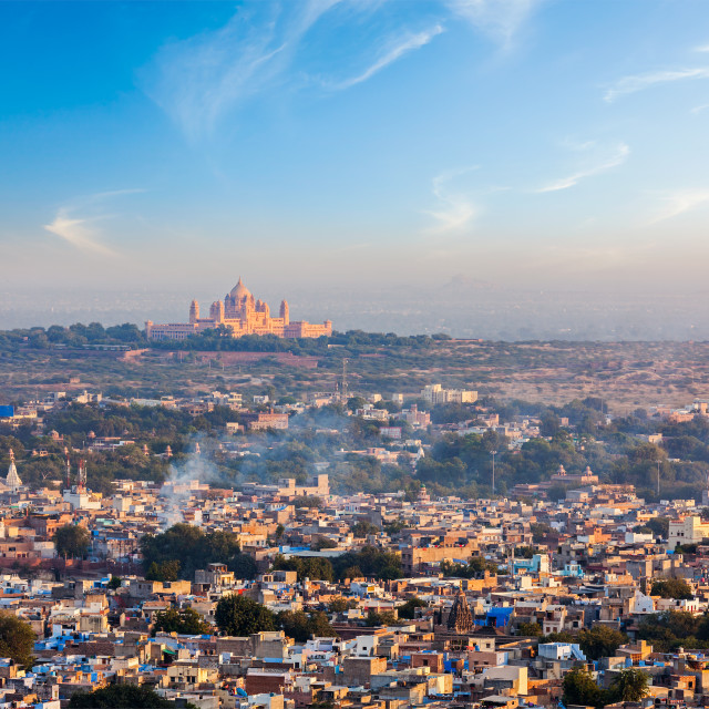 """""""Aerial view of Jodhpur - the Blue city - with Umaid Bhawan Palace on sunset. View from Mehrangarh Fort. Jodphur, Rajasthan, India"""" stock image"""