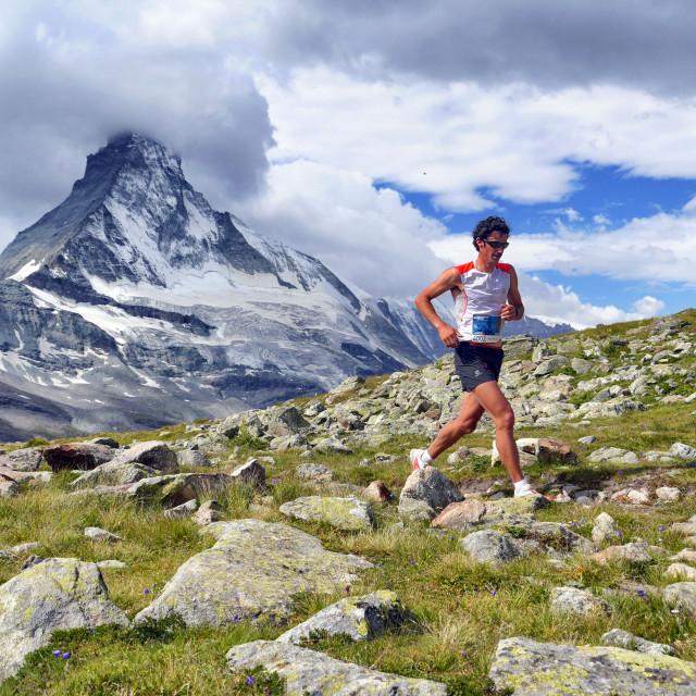 """Kilian Jornet and the Matterhorn."" stock image"