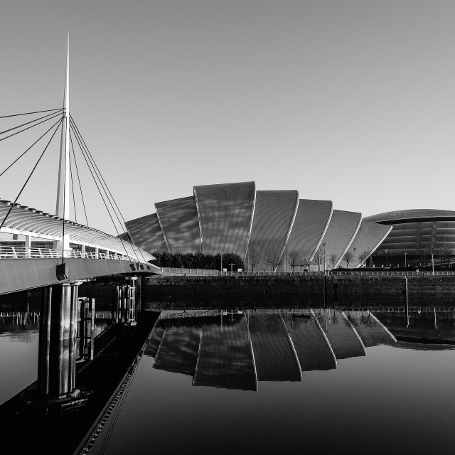 """Bridge Reflection, Glasgow"" stock image"