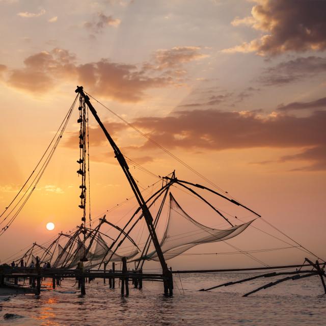 """""""Chinese fishnets on sunset. Kochi, Kerala, India"""" stock image"""