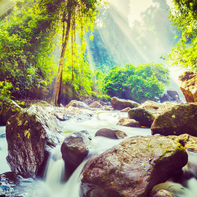 """""""Vintage retro effect filtered hipster style image of tropical waterfall Phnom Kulen, Cambodia"""" stock image"""