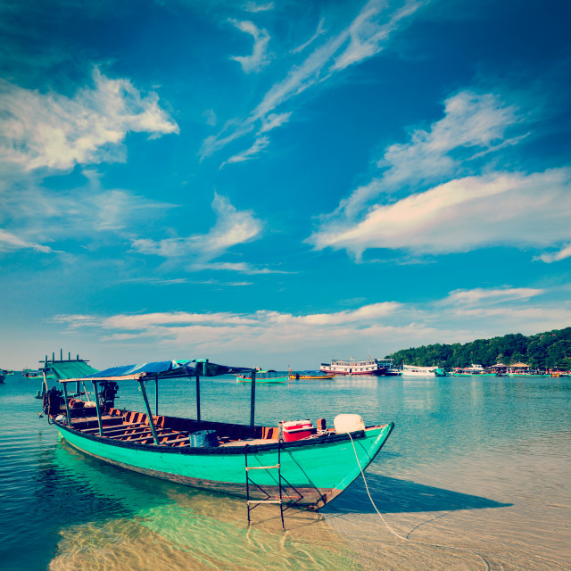 """""""Boats in Sihanoukville"""" stock image"""