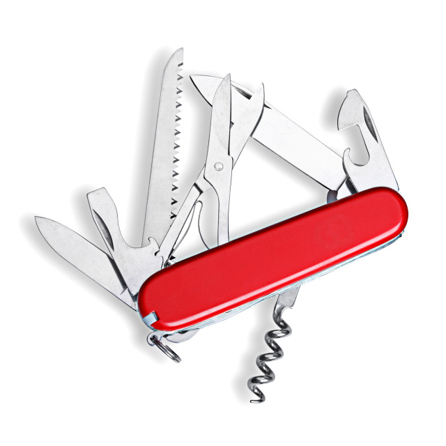 """Swiss army knife isolated"" stock image"