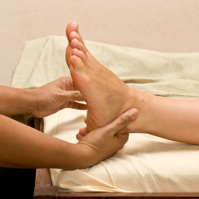 """Foot massage in spa"" stock image"