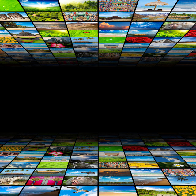 """""""Abstract multimedia background composed of many images with copyspace in the center"""" stock image"""