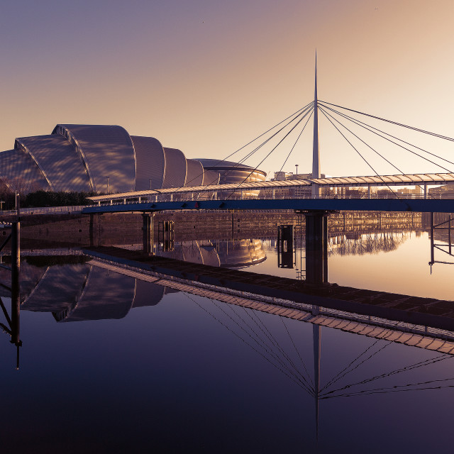 """Glasgow River Clyde Sunrise"" stock image"