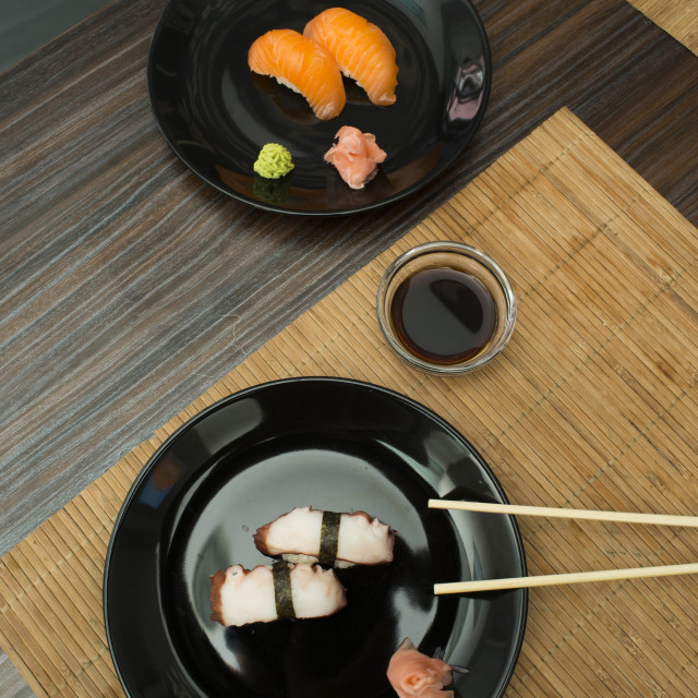 """Sushi in sushi bar"" stock image"
