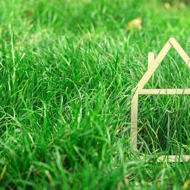 """Model house made on green grass"" stock image"