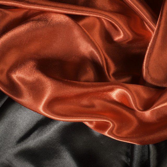 """Shiny black and red satin fabric"" stock image"