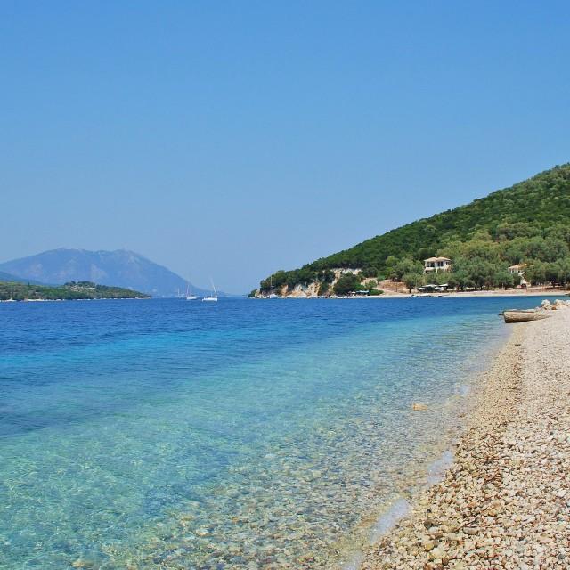 """Agios Ioannis beach, Meganissi"" stock image"
