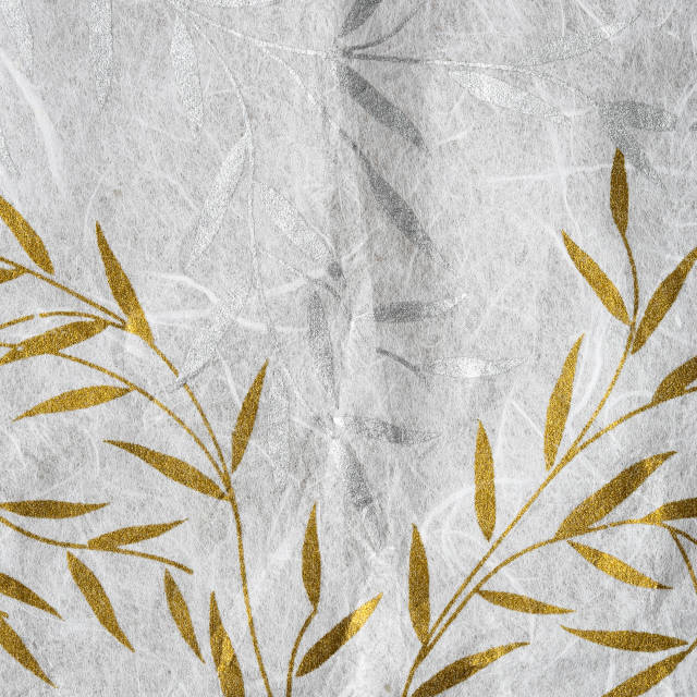 """Mulberry paper texture with golden and silver leaf"" stock image"