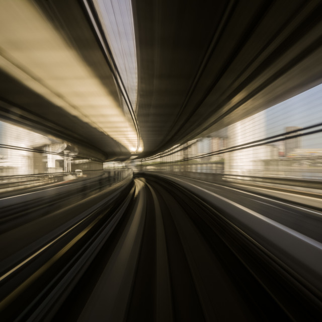 """Motion blue of a Japanese mono rail"" stock image"