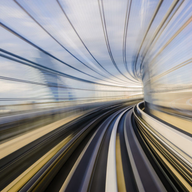 """Motion blue of a Japanese mono rail"" stock image"