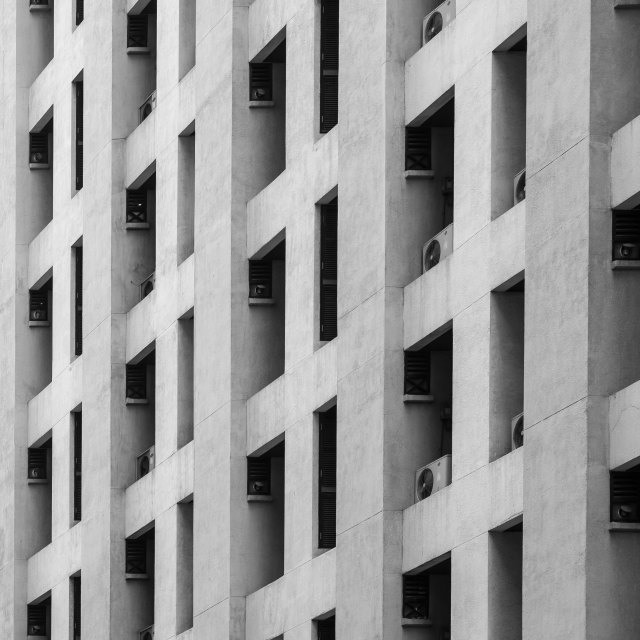"""Residential window building in black and white color"" stock image"